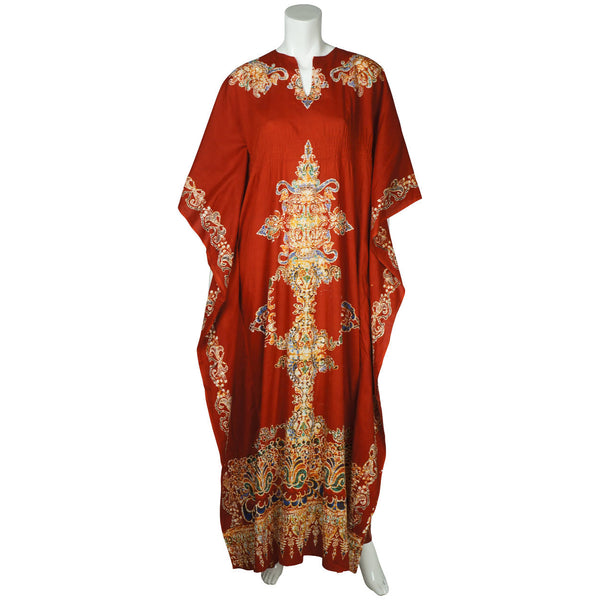Vintage 1970s Kaftan Red Cotton with Batik Print Caftan Ladies One Size - Poppy's Vintage Clothing