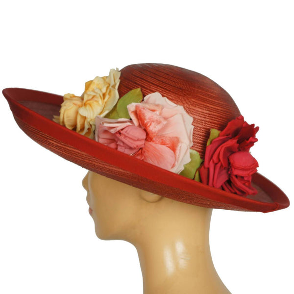 Vintage 1940s Red Straw Hat Wide Brim Flower Decoration Flore Deschamps Montreal - Poppy's Vintage Clothing