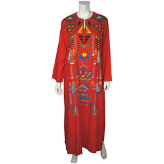 Vintage Caftan Red Cotton Kaftan with Coins & Tassels Size M - Poppy's Vintage Clothing