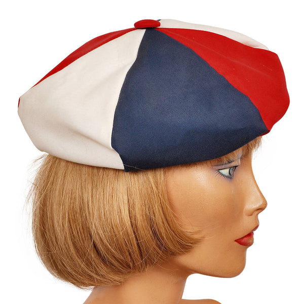 Vintage 60s Red White and Blue Beret Patriotic July 4 Hat Ladies Size S M - Poppy's Vintage Clothing