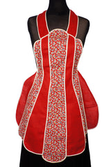 1930s Red Cotton Paneled Bib Apron