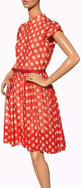 RESERVED Rockabilly Style 1950s Dress Red with White Polka Dots Size S / M