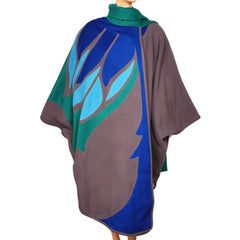 Vintage 1980s Wool Poncho Cape - Montreal Designer - Renee Legault - Poppy's Vintage Clothing