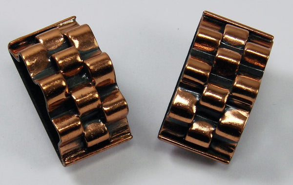 50s Vintage Earrings by Renoir Geometric Design Copper