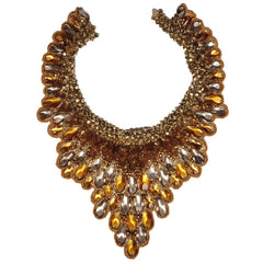 Vintage 60s Topaz Rhinestone Bib - Neck Piece - Necklace - Poppy's Vintage Clothing