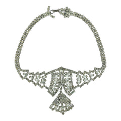 Vintage 1940s Rhinestone Choker Necklace with Drop Pendant - Poppy's Vintage Clothing