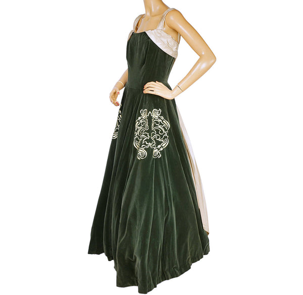 1950s Richard Lorain Canadian Designer Ball Gown Dress