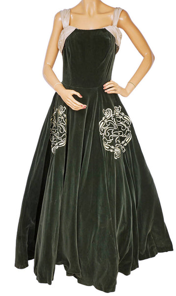 Vintage 1950s Canadian Couture Velvet Ball Gown Richard Lorain Couturier Montreal - Poppy's Vintage Clothing