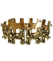 Vintage Brutalist Gold Plated Pewter Bracelet Robert Larin Modernist 1960s - Poppy's Vintage Clothing