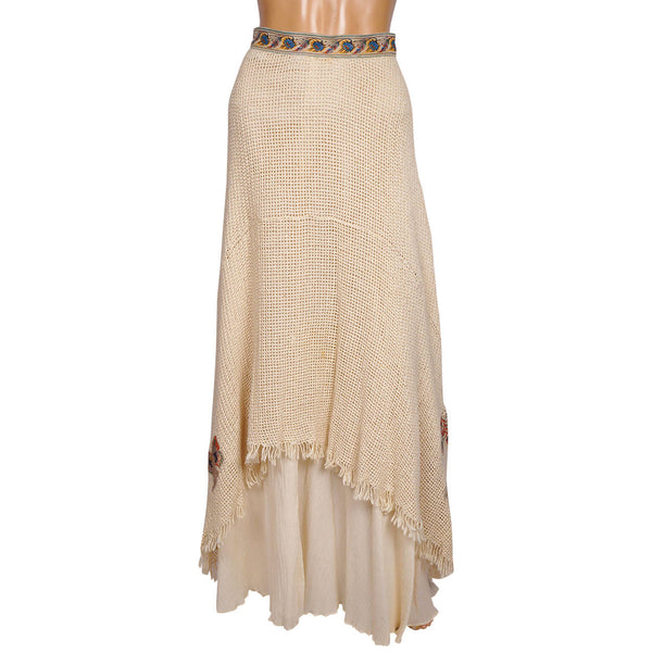 Roberto-Cavalli-1970-Cotton-Skirt-with-Leather-Appliques