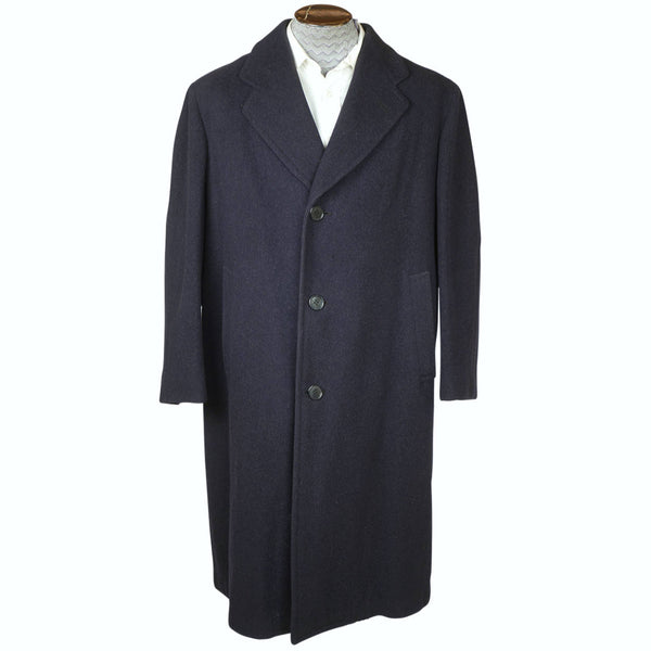 Vintage 1940s Mens Wool Coat Overcoat Slate Blue Size L XL The Trooper - Poppy's Vintage Clothing