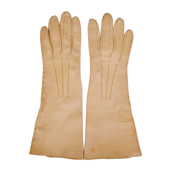 Vintage Roger Fare Paris Gloves Sand Yellow Kid Leather 1950s Ladies Size 6.75 - Poppy's Vintage Clothing