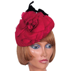 Vintage 1950s Cocktail Hat Pink Silk Rose - Poppy's Vintage Clothing