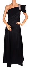Vintage 1980s Black Silk Evening Gown One Shoulder with Rhinestones Rose Taft