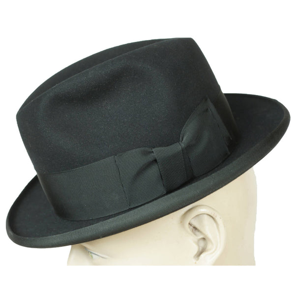 Vintage 1950s Royal Stetson Homburg Black Fur Felt Fedora Hat Size 7 - Poppy's Vintage Clothing