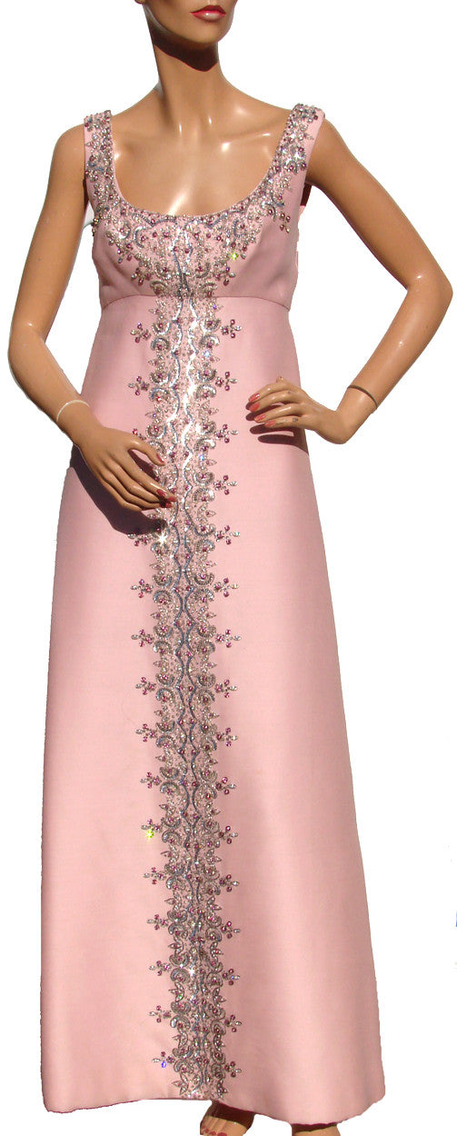 Vintage 60s Evening Gown with Matching Coat Beaded Pink Shantung Silk