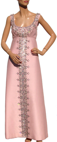 60s Royalton Hong Kong Pink Silk Evening Gown