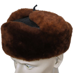 Vintage Russian Ushanka Hat Mouton Fur & Blue Leather Curly Lamb Lined S M - Poppy's Vintage Clothing