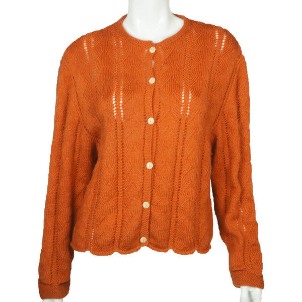Vintage Hand Knit Sweater Cardigan Style 1960s Rust Brown Wool Ladies Size L - Poppy's Vintage Clothing