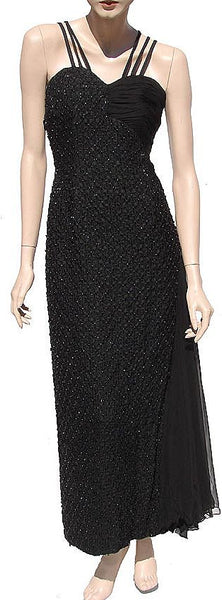 1960s Black Beaded Evening Gown