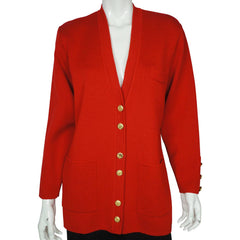 Saint James France Red Cardigan Sweater Wool Knit Yacht Wear Ladies US Size 12 - Poppy's Vintage Clothing