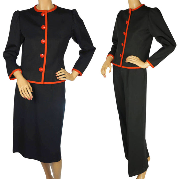 Yves Saint Laurent Three Piece Suit Jacket Pants & Skirt Black Wool Ladies S M - Poppy's Vintage Clothing