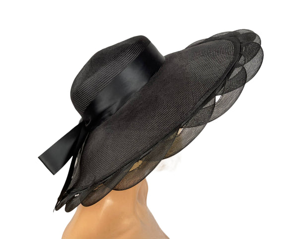 Vintage Wide Brim Black Straw Cartwheel Hat Ladies Size S M
