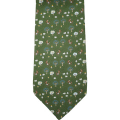 Vintage Salvatore Ferragamo Green Silk Tie Fox and Sheep Pattern Necktie - Poppy's Vintage Clothing