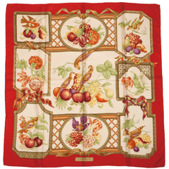 "Salvatore Ferragamo Birds and Fruit Silk Twill Scarf 34"" Square Made in Italy - Poppy's Vintage Clothing"