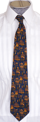 Salvatore Ferragamo Silk Tie Greek Architecture Pattern Mens Necktie - Poppy's Vintage Clothing