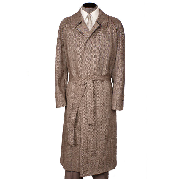 Vintage Mens Herringbone Tweed Coat Brown Trench Coat Style Samuelsohn 46 Tall - Poppy's Vintage Clothing