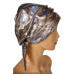 Vintage 1960s SCHIAPARELLI Paris TURBAN Hat - Gold LAME - Small