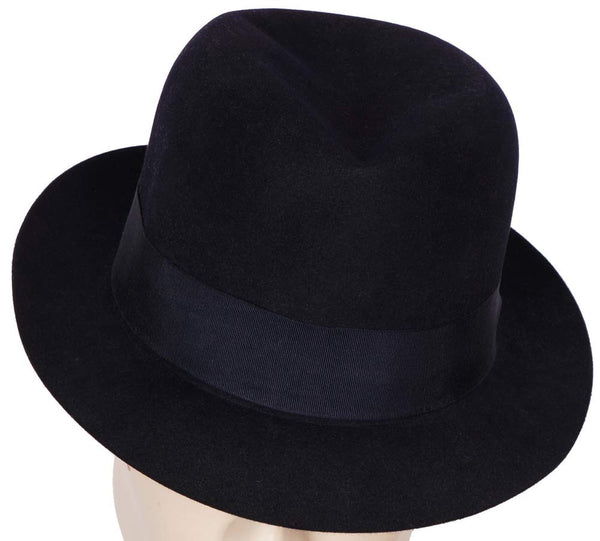 Vintage 1950s Scott and Co  of London Mens Trilby Fedora Hat Midnight Blue 7 1/4 - Poppy's Vintage Clothing