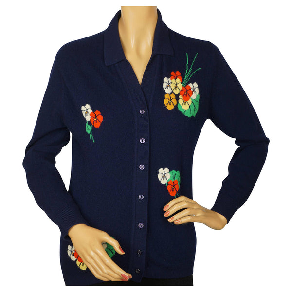 Vintage 1960s Scottish Cashmere Sweater with Pansy Flower Intarsia Pattern M - Poppy's Vintage Clothing