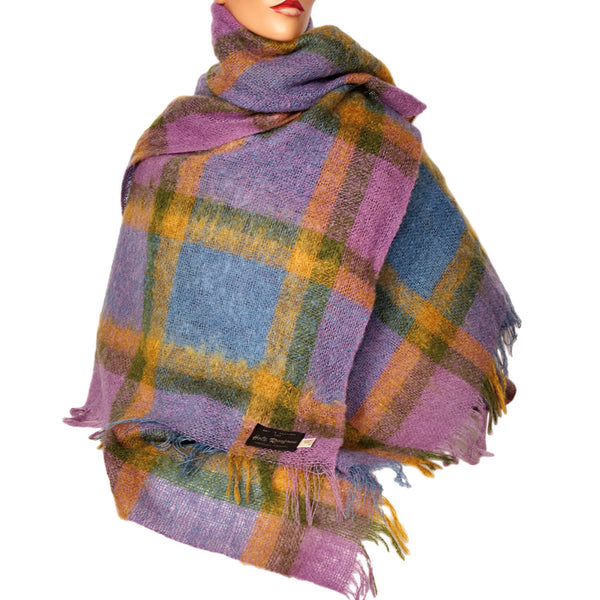 "Vintage Scottish Mohair Shawl Plaid Throw Blanket Holt Renfrew 54"" x 68"" - Poppy's Vintage Clothing"