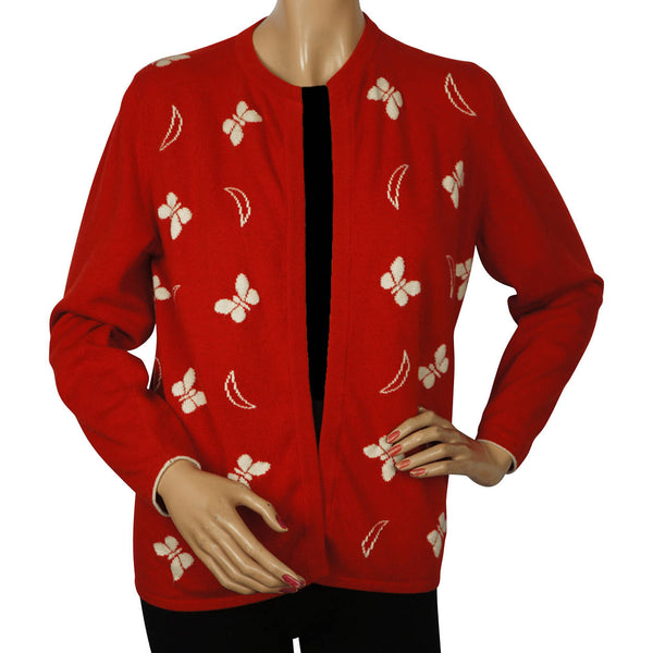 Vintage-Scottish-Cashmere-Red-Cardigan-w-Butterfly-Pattern