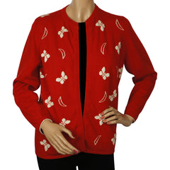 Vintage 1960s Red Scottish Cashmere Sweater with Butterfly Pattern Ladies M - Poppy's Vintage Clothing