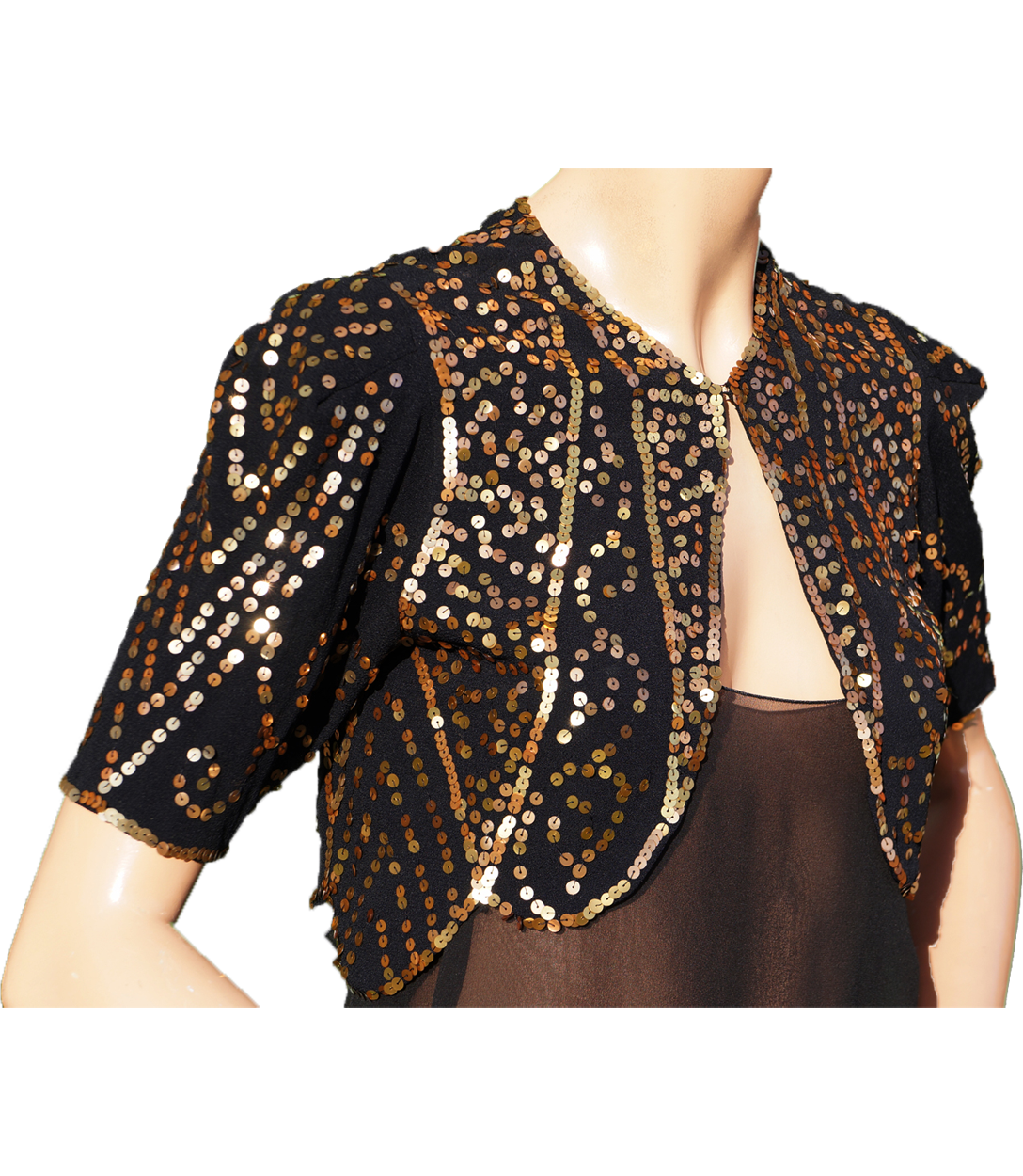 078b46c4 Vintage 30s Gold Sequin Bolero Jacket - 1930s Evening Sequined Black S