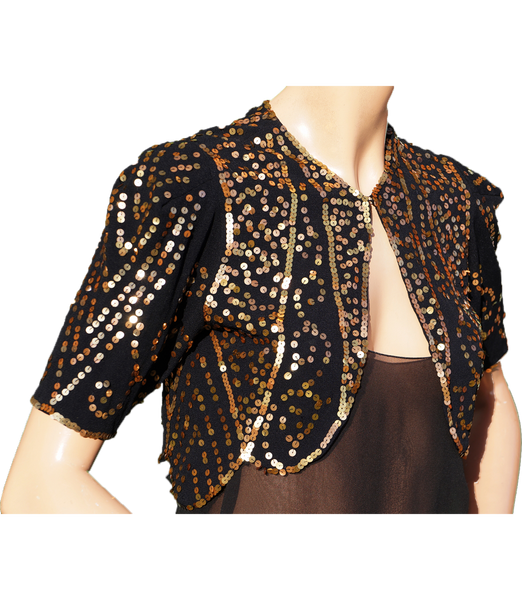 Vintage 30s Gold Sequin Bolero Jacket - 1930s Evening Sequined Black Silk Crepe S - Poppy's Vintage Clothing