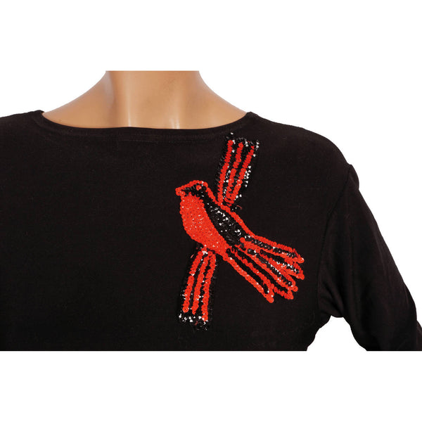 1930s-Red-Black-Sequin-Bird-Applique-on-Dress