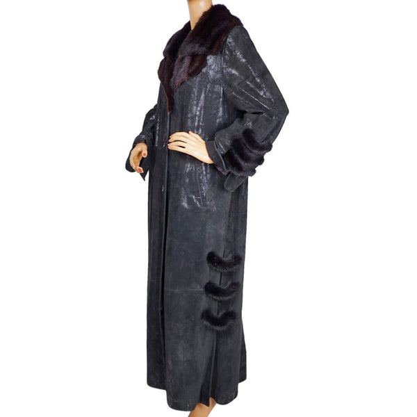 Vintage 1990s Stenciled Leather and Mink Coat by Sergio Turani