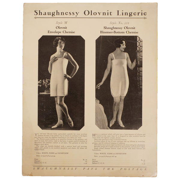 Vintage 1920s Underwear Bloomer Chemise Catalog Promo Ad Shaugnessy Olovnit Lingerie - Poppy's Vintage Clothing