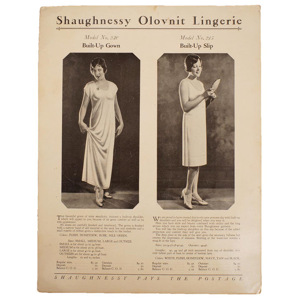 Vintage 1920s Shaugnessy Olovnit Lingerie Trade Promo Ad Built-Up Gown & Slip - Poppy's Vintage Clothing