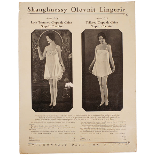 Vintage 1920s Lingerie Trade Sales Promo Sheet Shaugnessy Olovnit Ad Step-In Chemise Teddy - Poppy's Vintage Clothing