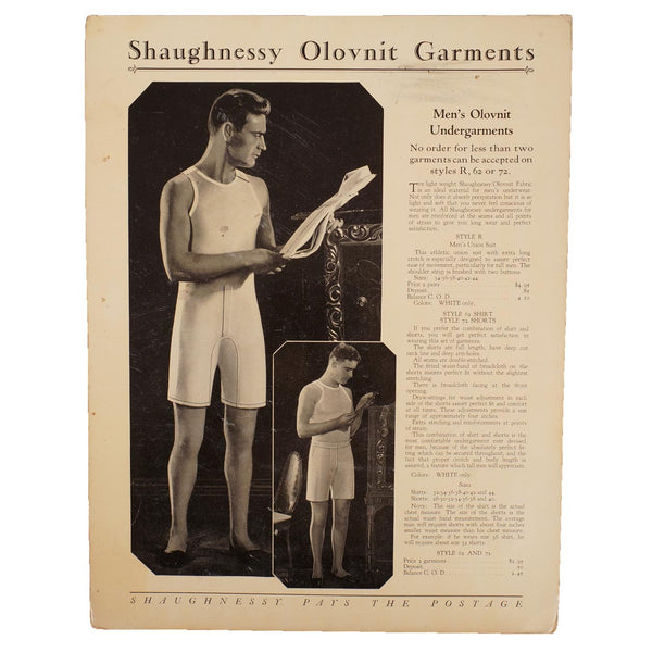 Vintage 1920s Shaugnessy Olovnit Mens Underwear Trade Sales Ad Promo - Poppy's Vintage Clothing
