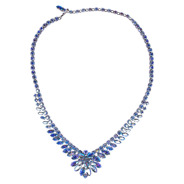 Vintage 1950s Sherman Necklace Aurora Blue Rhinestone AB 17 Inch - Poppy's Vintage Clothing