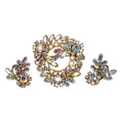 Vintage 1950s Sherman AB Rhinestone Brooch & Earrings Aurora Demi Parure Signed - Poppy's Vintage Clothing
