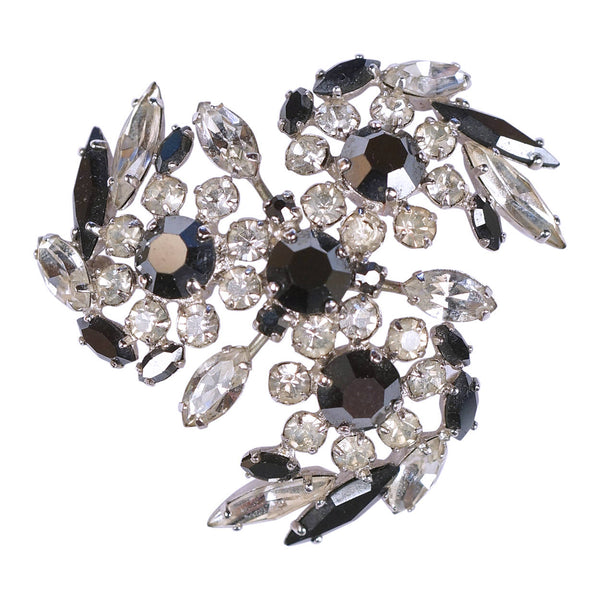 Vintage 1960s Sherman Rhinestone Brooch Black & Clear Floral Swirls Signed - Poppy's Vintage Clothing