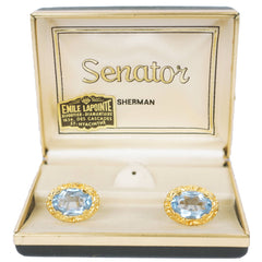 Vintage Sherman Senator Blue Rhinestone Cufflinks Gold Toned - Poppy's Vintage Clothing