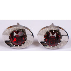 Vintage Sherman Senator Red Rhinestone Cufflinks - Poppy's Vintage Clothing